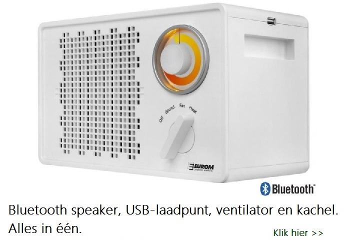 Elektrische keramische kachel met ingebouwde bluetooth speaker, USB-laadpunt. Kan ook als ventilator gebruikt worden.